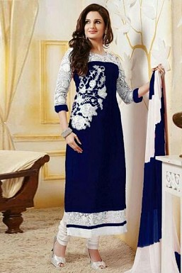 Blue Semi Stitched Georgette Straight Cut Salwar Suit@ Rs.1298.00