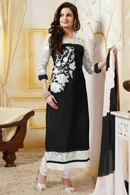 Black Semi Stitched Georgette Straight Cut Salwar Suit @ Rs1298.00