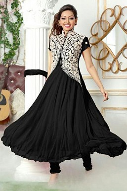 Black Semi Stitched Georgette Anarkali Salwar Suit @ Rs680.00