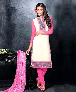 Chanderi Cotton Embroidered Salwar Suit Buy Rs.744.00
