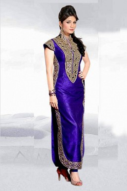 Eye Catching Blue Semi Stitched Banglori Silk Salwar Suit @ Rs680.00