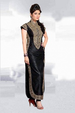 Ravishing Black Semi Stitched Banglori Silk Salwar Suit @ Rs680.00