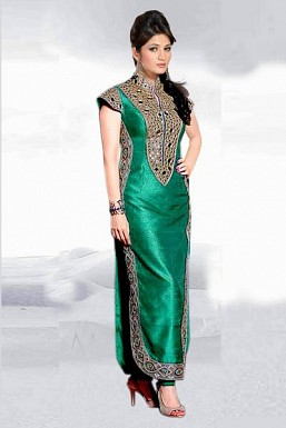 Eye Catching Green Semi Stitched Banglori Silk Salwar Suit @ Rs680.00
