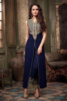 Blue Semi Stitched Georgette Salwar Suit @ Rs804.00