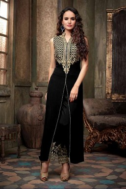 Black Semi Stitched Georgette Salwar Suit @ Rs927.00