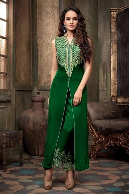 Green Semi Stitched Georgette Salwar Suit Buy Rs.680.00