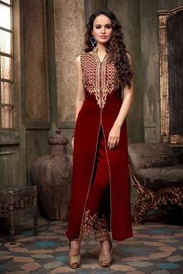 Maroon Semi Stitched Georgette Salwar Suit @ Rs804.00