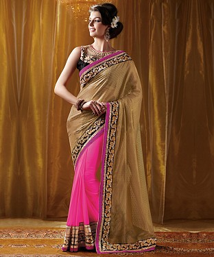 Beautiful Pink and goldEmbroidery Georgette Saree @ Rs1051.00