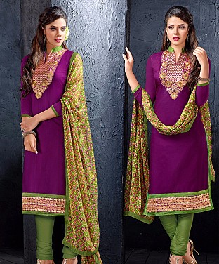 Chanderi Cotton Embroidered with Jacket Style Salwar Suit @ Rs744.00
