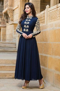 Blue Stunning Semi Stitched Faux Georgette Salwar Suit @ Rs742.00