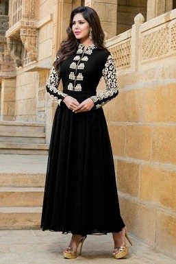 Black Stunning Semi Stitched Faux Georgette Salwar Suit @ Rs1521.00