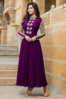 Purple Stunning Semi Stitched Faux Georgette Salwar Suit @ Rs1521.00