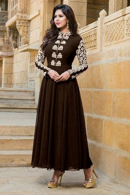 Brown Stunning Semi Stitched Faux Georgette Salwar Suit @ Rs1521.00