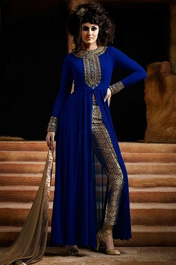 Blue Semi-Stitched Georgette Party Wear Salwar Suit @ Rs989.00