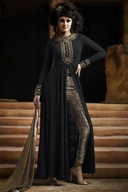 Black Semi-Stitched Georgette Party Wear Salwar Suit @ Rs989.00