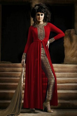Red Semi-Stitched Georgette Party Wear Salwar Suit@ Rs.989.00