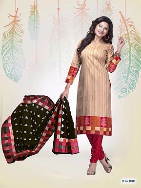 New Cream Cotton Printed Un-stitched Salwar Suits@ Rs.1235.00