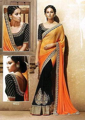Beautiful OrangeEmbroidery Georgette Saree @ Rs988.00