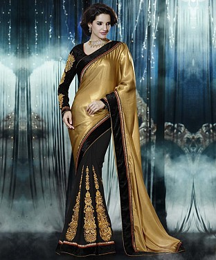 Beautiful Gold Embroidery Georgette Saree @ Rs1026.00