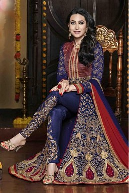 Blue Semi-Stitched Georgette Party Wear Salwar Suit @ Rs1298.00