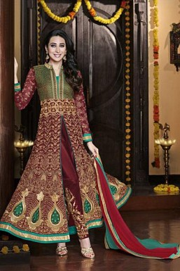 Green & Maroon Semi-Stitched Georgette Party Wear Salwar Suit @ Rs4265.00