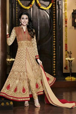 Beige Semi-Stitched Georgette Party Wear Salwar Suit @ Rs4265.00