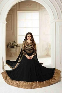 Black Semi Stitched Georgette Anarkali Salwar Kameez@ Rs.927.00