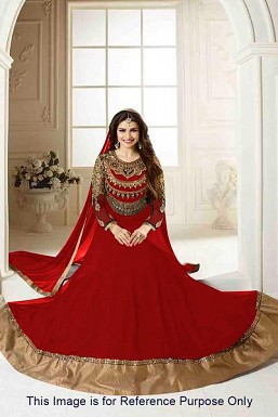 Red Semi Stitched Georgette Anarkali Salwar Kameez @ Rs927.00