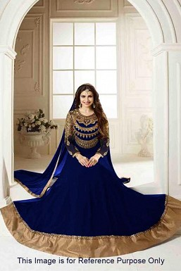 Blue Semi Stitched Georgette Anarkali Salwar Kameez @ Rs927.00