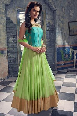 Sky Blue & Light Green Semi-Stitched Georgette Party Wear Salwar Suit @ Rs3152.00