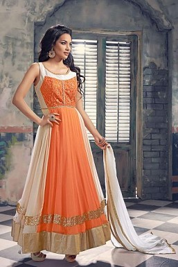 Oreng & OffWhite Semi Stitched Georgette Anarkali Suit @ Rs3245.00
