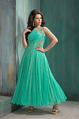 Aqua Green semi Stitched Soft Net party Wear Salwar Suit @ Rs2874.00
