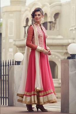 Pink Semi-Stitched Georgette Party Wear Salwar Suit@ Rs.3616.00