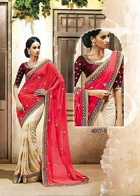 Beautiful PinkEmbroidery Net and Satin Saree @ Rs1112.00