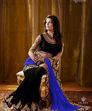 Beautiful Blue and blackEmbroidery Georgette Saree @ Rs1929.00