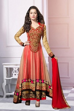 Red Semi-Stitched Party Wear Salwar Suit @ Rs866.00