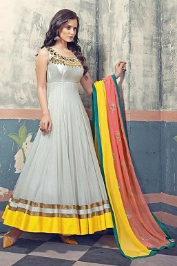 Gray Semi-stitched Anarkali Suit@ Rs.3152.00