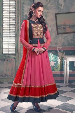 Beautiful Pink Semi-stitched Anarkali Suit@ Rs.3616.00