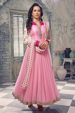 Baby pink semi-stitched Anarkali Salwar suit @ Rs2596.00