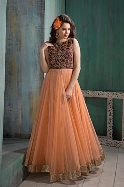 Peach Net Semi-stitched anarkali suit @ Rs2948.00
