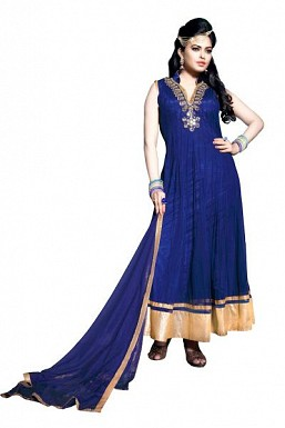 Blue Net Semi-stitched Anarkali suit@ Rs.3152.00