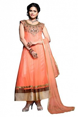 Peach Net Semi-stitched Anarkali Suit @ Rs3336.00