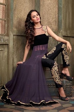 Stunning Black & Gray Net Semi-stitched Salwar Suit @ Rs2781.00