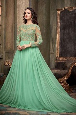 Light Green Georgette Semi-Stitched Anarkali Suit@ Rs.3708.00