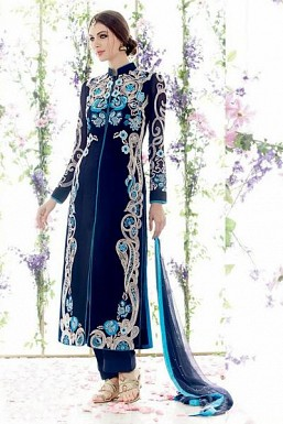 DarkBlue Georgette Semi-Stitched salwar suit @ Rs866.00