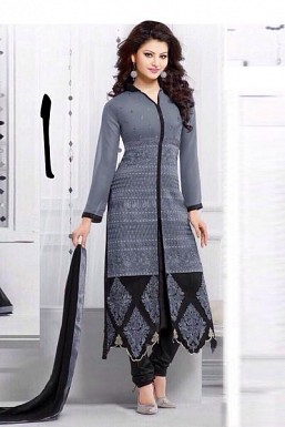 Beautiful Gray Georgette Semi-stitched Salwar Suit @ Rs2225.00
