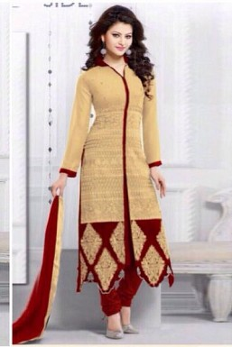 Beautiful Cream Georgette Semi-stitched Salwar Suit @ Rs2225.00