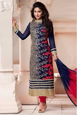 Blue Georgette Semi-stitched Salwar Suit @ Rs680.00