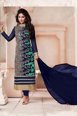 Blue Georgette Semi-stitched Salwar Suit @ Rs866.00