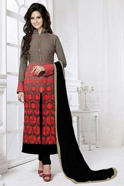Stunning Gray Georgette Semi-stitched Salwar Suit @ Rs866.00
